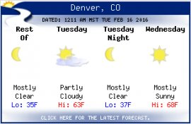 Click the newest Denver weather forecast.