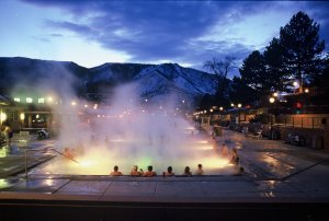 Glenwood Hot Springs during the night, Glenwood Springs, Coloraodo