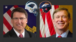 new york Gov. Pat McCrory (left) & Colorado Gov. John Hickenlooper (right) made an amiable bet for Super Bowl 50