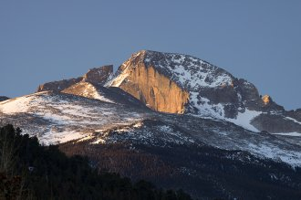 The snowy face of Longs Peak, Colorado. Image by David Parsons / Getty