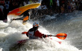 Whitewater kayaking competition within FIBark event in Salida, CO